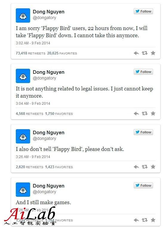 Flappy Bird 开发者撤下应用:它毁了我的生活