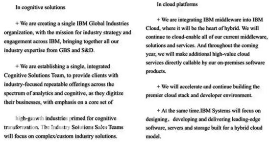 疑似IBM内部邮件内容